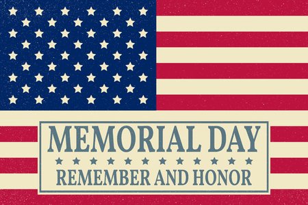 Illustration pour Happy Memorial Day background template. Happy Memorial Day poster. Remember and honor on top of American flag. Patriotic banner. Vector illustration. - image libre de droit