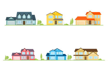 Illustration pour Neighborhood with homes illustrated on white. Vector flat icon suburban american houses. For web design and application interface, also useful for infographics. Vector illustration. - image libre de droit