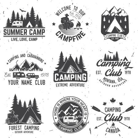 Illustration pour Camping extreme adventure . Vector illustration. - image libre de droit