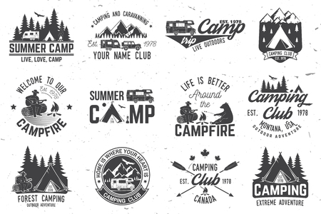 Illustration for Summer camp. Vector illustration. Concept for shirt or logo, print, stamp or tee. - Royalty Free Image