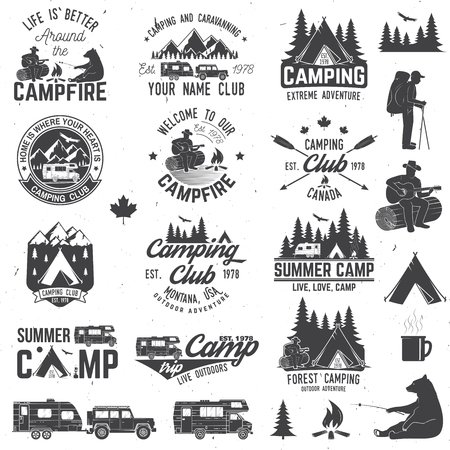 Illustration pour Summer camp. Vector illustration. Concept for shirt or logo, print, stamp or tee. - image libre de droit