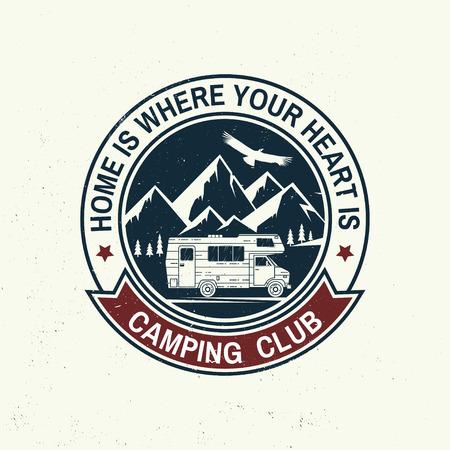 Illustration pour Camper and caravaning club. Vector illustration. - image libre de droit