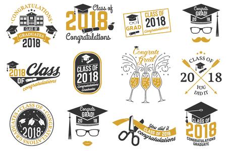 Illustration pour Vector Class of 2018 badge. - image libre de droit