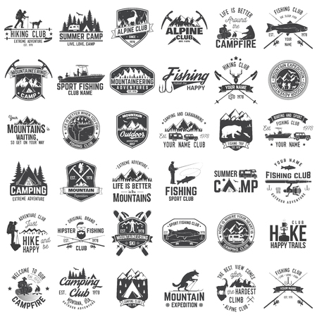 Ilustración de Set of extreme adventure badges. Concept for shirt or logo, print, stamp or tee. - Imagen libre de derechos