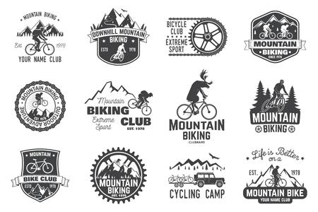 Illustrazione per Mountain biking collection. Vector illustration. - Immagini Royalty Free