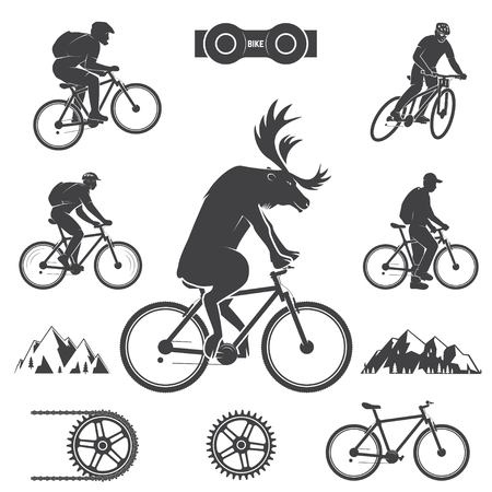 Illustrazione per Set of cycling Mountain Bike Icons - Immagini Royalty Free