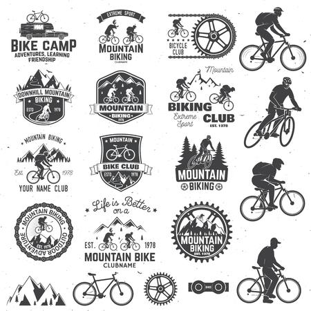 Illustration pour Mountain biking collection. Vector illustration. - image libre de droit