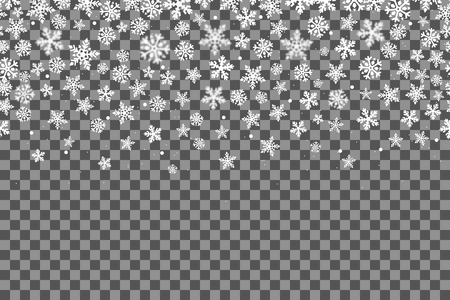 Illustration pour Seamless pattern with snowflakes for New Year celebration on transparent background, Christmas snow fall decoration effect. - image libre de droit