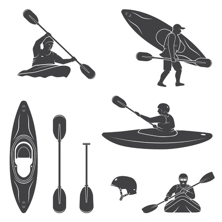 Illustration pour Set of extrema water sports equipment, kayaker and canoe silhouettes. Vector illustration. Collection include kayak, paddles, helmet and kayaker silhouettes. - image libre de droit