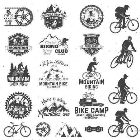 Illustration pour Mountain biking collection Vector illustration. - image libre de droit