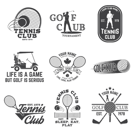 Ilustración de Set of Golf club, Tennis club concept with golfer and tennis player silhouette. Vector golfing and tennis club retro badge. Concept for shirt, print, seal or stamp. Typography design. - Imagen libre de derechos
