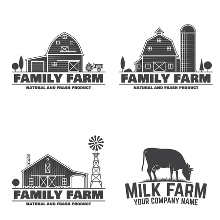 Ilustración de Family Farm and Milk Farm Badges or Labels. Vector illustration. Vintage typography design with cow and farm barn silhouette. Elements on the theme of the farming business. - Imagen libre de derechos
