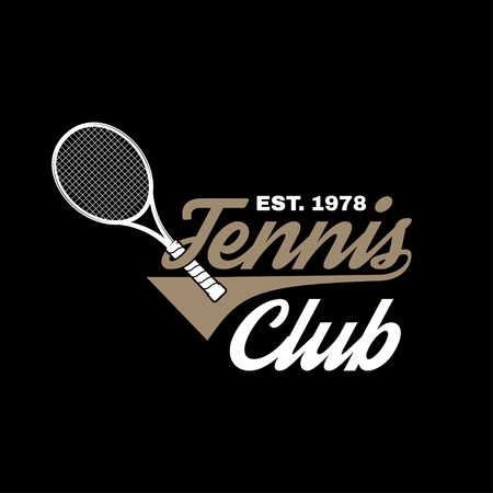 Tennis club badge. Vector illustration. Concept for shirt, print, stamp or tee. Vintage typography design with tennis racket silhouette.