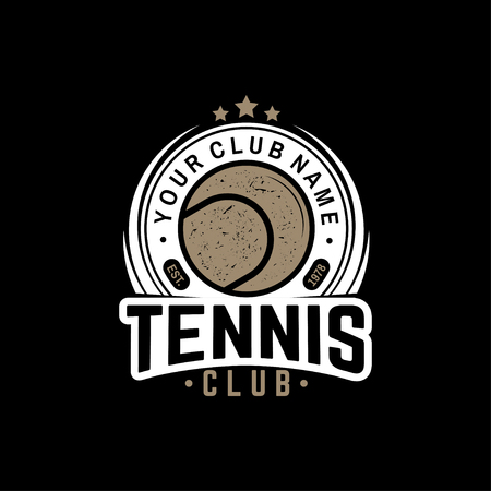 Tennis club. Vector illustration. Concept for shirt, print, stamp or tee. Vintage typography design with tennis ball silhouette.