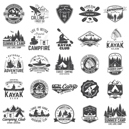 Illustration for Set of canoe, kayak and camping club badge - Royalty Free Image