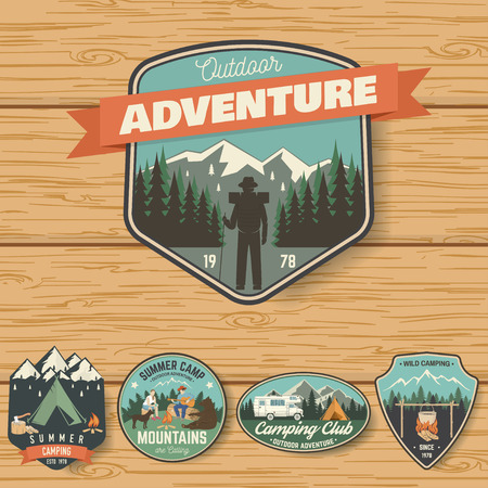 Illustration for Set of Summer camp badges on the wood board - Royalty Free Image