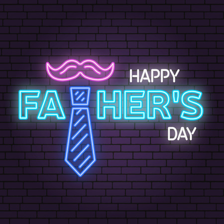 Illustration pour Happy Fathers Day sign on brick wall background. Neon design for Fathers Day. Vector - image libre de droit