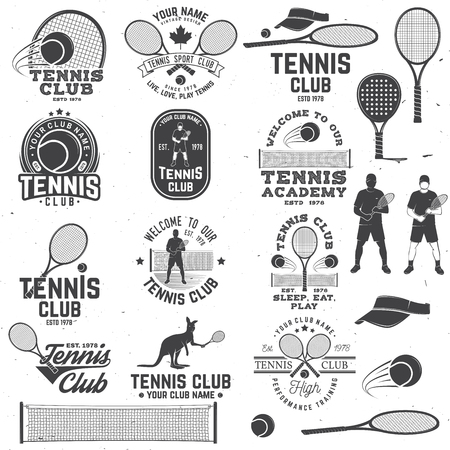 Ilustración de Set of Tennis club badges with design element. Vector illustration. - Imagen libre de derechos
