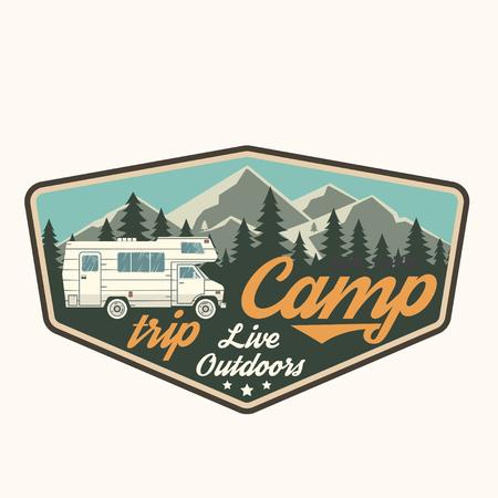 Illustration pour Camp trip. Live outdoors. Vector illustration. - image libre de droit