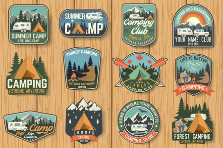 Ilustración de Set of Summer camp badges on the wood board. Vector. - Imagen libre de derechos
