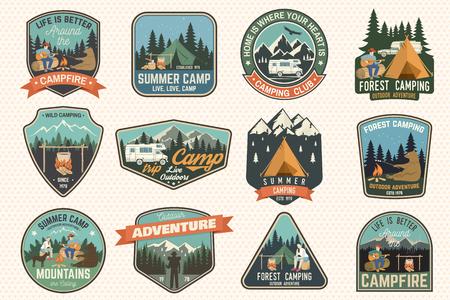 Illustration pour Set of Summer camp badges. Vector. Concept for shirt or logo, print, stamp, patch or tee. - image libre de droit