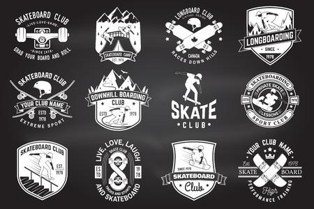 Illustration pour Set of Skateboard and longboard club badges. Vector illustration - image libre de droit