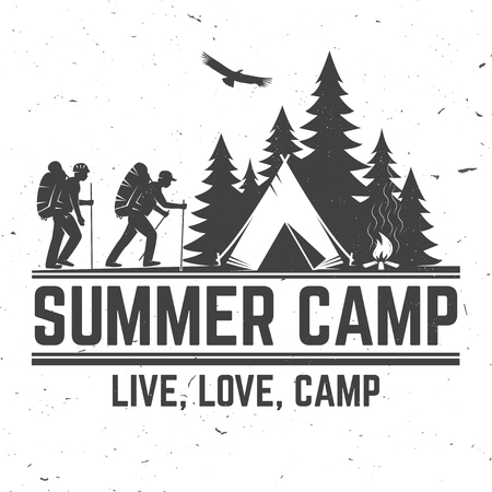 Ilustración de Summer camp. Vector illustration. Concept for shirt or logo, print, stamp or tee. - Imagen libre de derechos