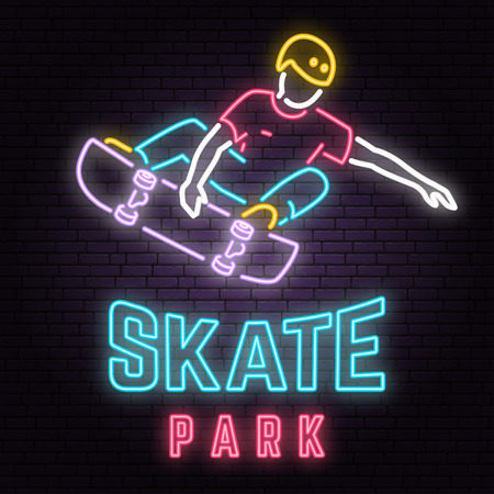 Illustration for Neon skate park sign on brick wall background. Vector illustration. - Royalty Free Image
