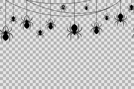 Ilustración de Seamless pattern with spiders for Halloween celebration on transparent background. Vector Illustration. Halloween background with black spiders and spider web. - Imagen libre de derechos