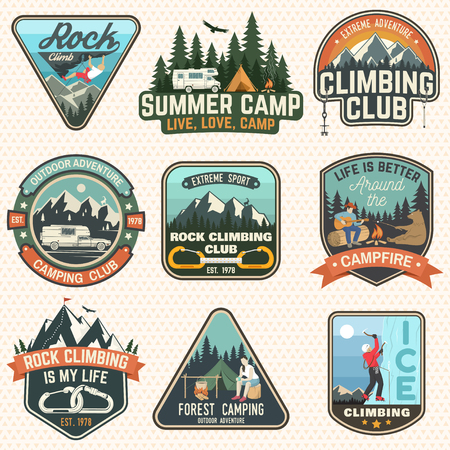 Illustration pour Set of Rock Climbing club and summer camp badges. Vector Concept for shirt or print, stamp, patch or tee. Vintage typography design with camping tent, trailer, camper, climber, carabiner and mountains - image libre de droit
