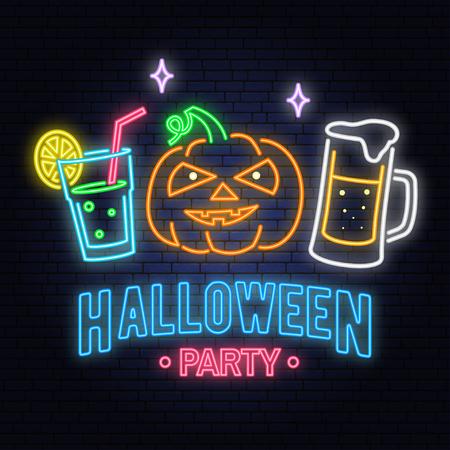 Ilustración de Halloween party neon sign. Vector illustration. Happy Halloween light banner with Beer, cocktail and pumpkin. Night bright advertisement. Neon sign for banner, billboard, promotion or advertisement. - Imagen libre de derechos