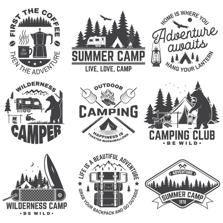 Illustration pour Summer camp. Vector. Concept for shirt or patch, print, stamp. Vintage typography design with rv trailer, camping tent, campfire, bear, coffee maker, pocket knife and forest silhouette. - image libre de droit