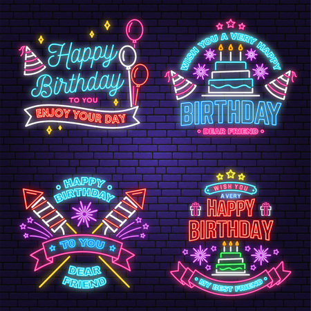 Illustration for Wish you a very happy Birthday dear friend neon sign. Badge, sticker, with birthday hat, firework and cake with candles. Vector. Neon design for birthday celebration emblem. Night neon signboard - Royalty Free Image