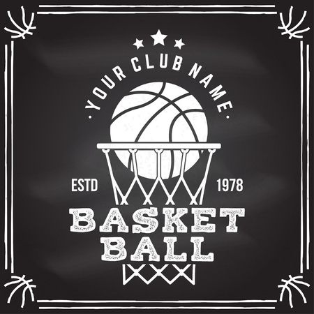 Ilustración de Basketball club badge. Vector illustration. Concept for shirt, print, stamp. Vintage typography design with basketball ring, net and ball silhouette. - Imagen libre de derechos