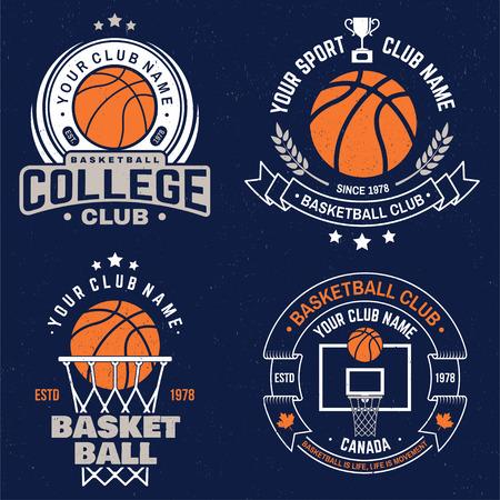 Ilustración de Set of basketball club badge. Vector. Graphic design for t-shirt, tee, print or apparel. Vintage typography design with basketball hoop and ball silhouette. - Imagen libre de derechos