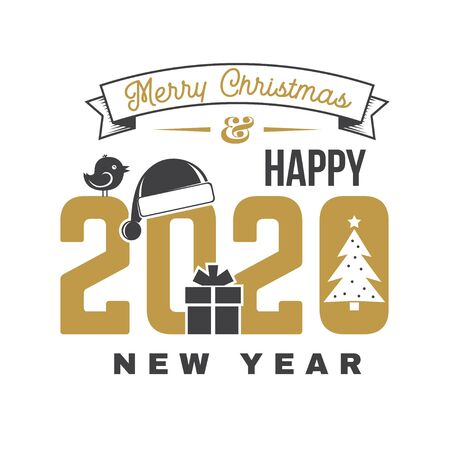 Illustration pour Merry Christmas and 2020 Happy New Year sticker with christmas tree, Santa Hat, gift and bird. Vector. Vintage typography design for xmas, new year emblem in retro style. - image libre de droit