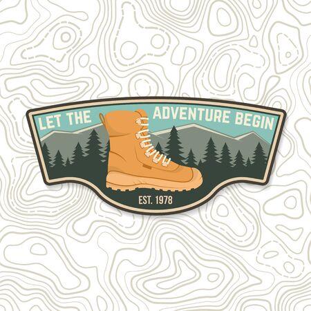 Ilustración de Let the adventure begin. Sammer camp badge. For patch, stamp. Vector. Concept for shirt or  print, stamp or tee. - Imagen libre de derechos