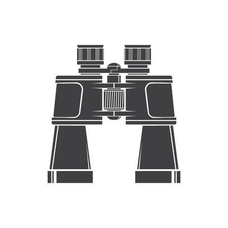 Ilustración de Binoculars silhouette isolated on white background. Vector. Hunting binoculars. - Imagen libre de derechos