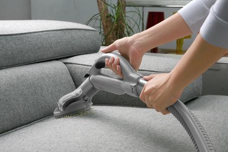 Photo pour Vacuum cleaner. Woman use vacuum cleaner - image libre de droit