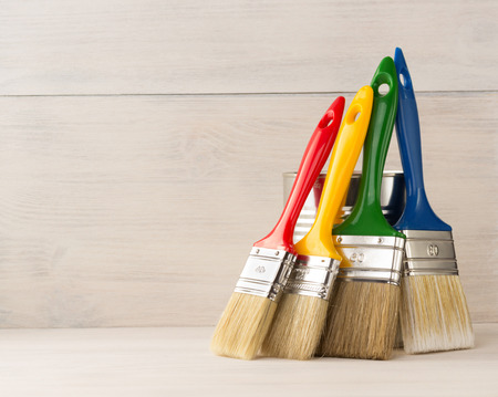Photo for paint brush  on wooden background - Royalty Free Image