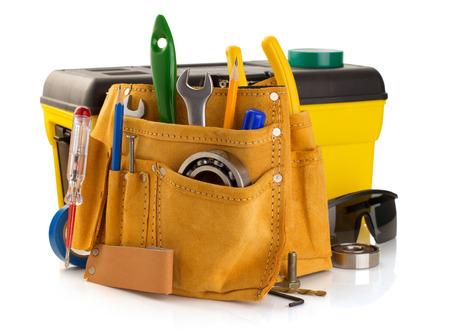 Foto de tools and instruments in belt isolated on white background - Imagen libre de derechos
