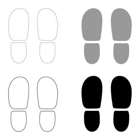 Ilustración de Traces the heels of shoes   it is the black and grey color set icon . - Imagen libre de derechos