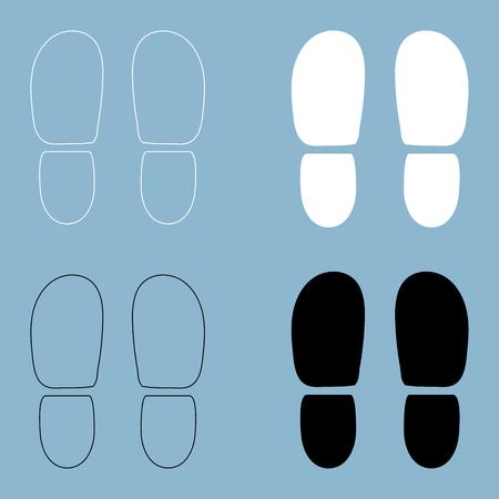 Ilustración de Traces the heels of shoes the black and white color icon . - Imagen libre de derechos