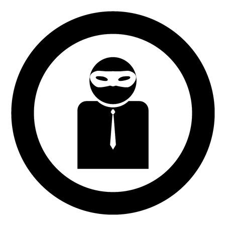 Illustrazione per The man incognito in a mask the black color icon  in circle or round vector illustration - Immagini Royalty Free