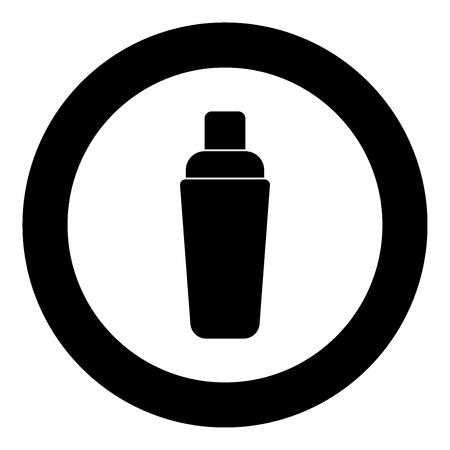 Illustration pour Shaker icon black color in circle vector illustration isolated - image libre de droit
