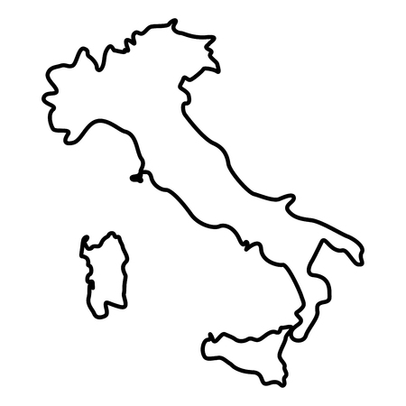 Illustration pour Map of Italy icon black color vector illustration flat style outline - image libre de droit