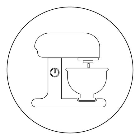 Illustration pour Food processor icon outline black color in circle vector illustration - image libre de droit