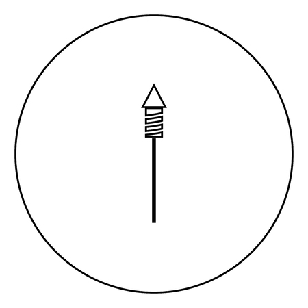 Illustration for Rockets for fireworks icon black color in circle outline vector illustration - Royalty Free Image