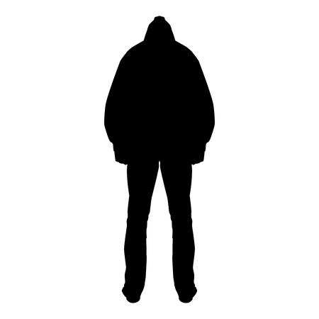 Illustrazione per Man in the hood concept danger silhouette back side icon black color vector illustration flat style simple image - Immagini Royalty Free