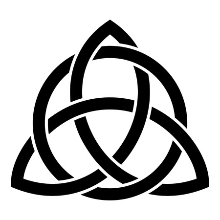 Illustrazione per Triquetra in circle Trikvetr knot shape Trinity knot icon black color vector illustration flat style simple image - Immagini Royalty Free